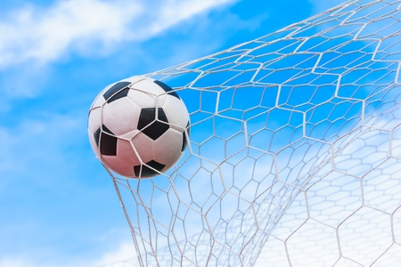 soccer ball in goal net Stock Photo - 22003997