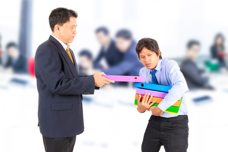 business man giving jobs to worker photo