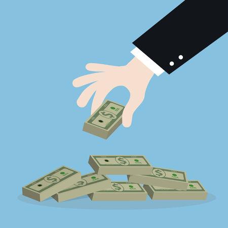 scarcity: business man hand get money,illustration,vector Illustration
