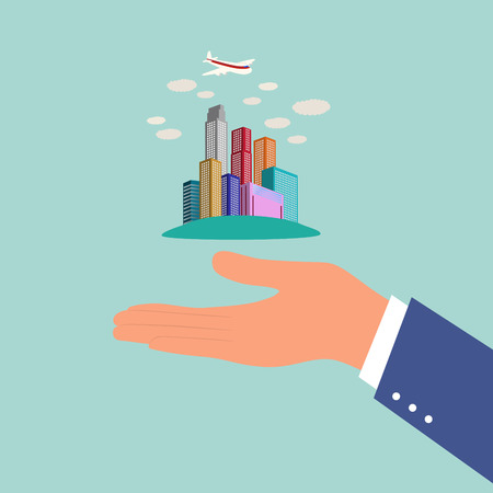 crushed: business city with high tower on businessmans hand,illustration,vector