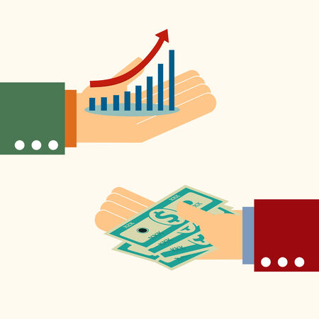 wage: business man hand money exchange with higher graph,illustration,vector