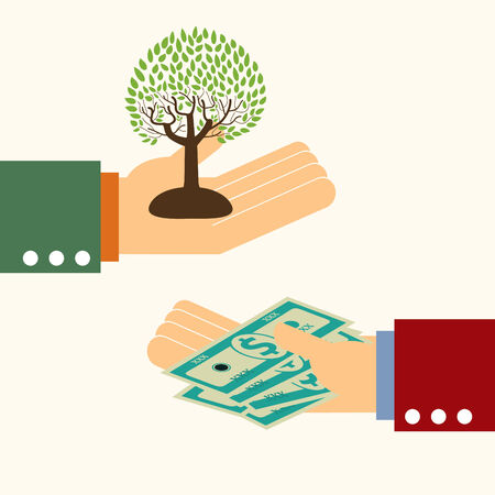 brokers: business man hand money exchange with green tree,illustration,vector