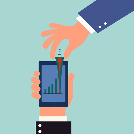 bring up: hand hold smart phone and bring up graph higher,illustration,vector