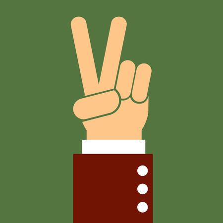 nonverbal: business man hand pointing victory,illustration,vector