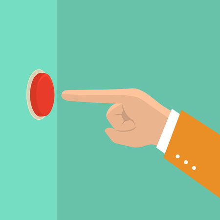 business man hand pushing red button,illustration,vector Illustration