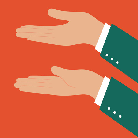 nonverbal: left and right business man hand,illustration,vector
