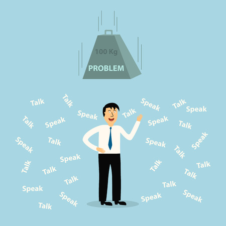 cheater: business man to much talk and speak die with problem,illustration,vector Illustration