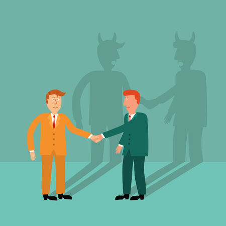 two business man shaking hand with devil shadow,business concept,illustration,vector Vector