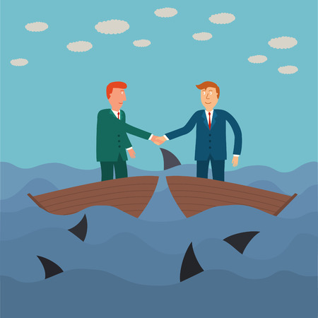 businessman jumping: two business man shaking hand on small boat with shark in the sea,business concept,illustration,vector