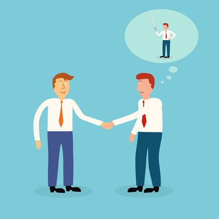 two business man shaking hand,business concept,illustration,vector Vector