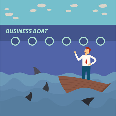 big business: hombre de negocios en peque�o barco mirando barco grande de negocios con los tiburones en el mar, concepto de negocio, ilustraci�n, vector
