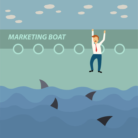 business man hang on marketing boat and shark in the sea,business concept,illustration,vector Vector