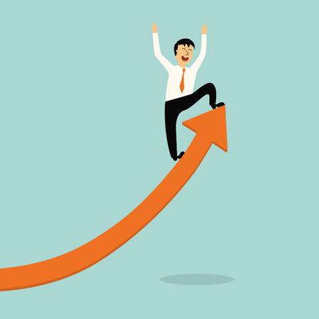 right ideas: business man stand on top of graph arrow,successful concept,illustration,vector