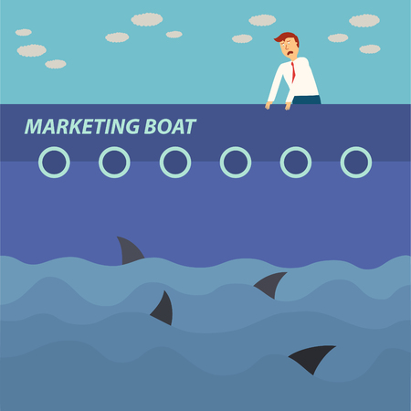 business man vector: business man hang on marketing boat and shark in the sea,business concept,illustration,vector