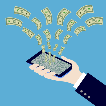 holding smart phone: hand holding smart phone with money,illustration,vector