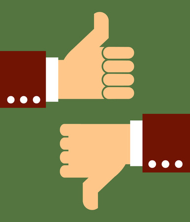 Pleading: business man hand thumb up and down,illustration,vector