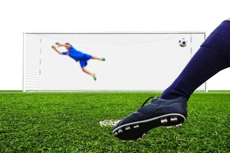 terrain foot: ballon de soccer pied de tir au but, peine