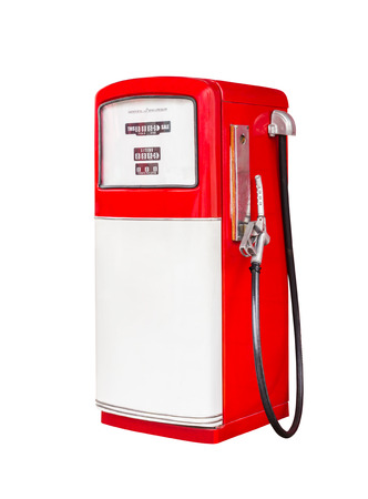 liter: vintage gasoline fuel pump dispenser isolated with clipping path