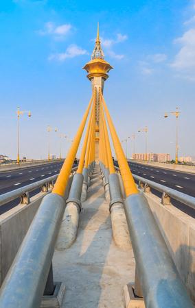 cable bridge: cable bridge with blue sky