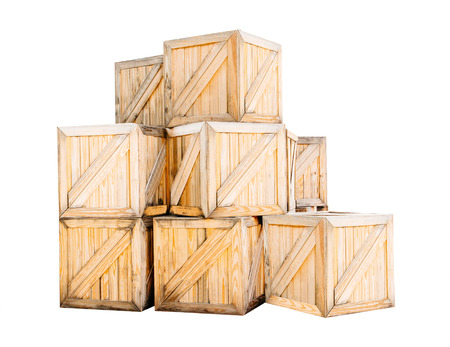 boxed: wood box isolated with clipping path Stock Photo