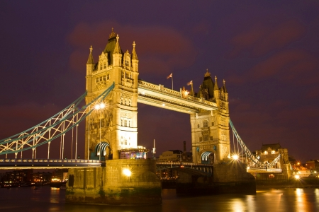 place of interest: Tower Bridge in London at twilight time  Stock Photo