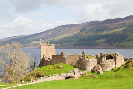 Landscape Ruins of Urquhart Castle at Loch Ness Inverness Highlands, Scotland UK  photo