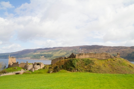 ness: Ruins of Urquhart Castle at Loch Ness Inverness Highlands, Scotland UK  Stock Photo