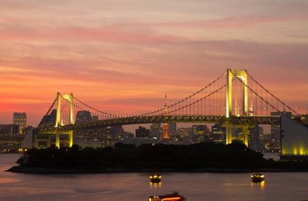 View of Rainbow Bridge at night from Odaiba