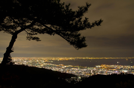 View from Mt Rokko to see Kobe and Osaka town