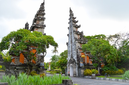 seminyak: An exotic traditional Balinese architecture of a gateway to Nusa Dua, Bali Stock Photo