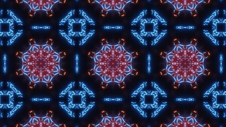 multi color kaleidoscope pattern. abstract ornament with blue red and glowing Stock Photo