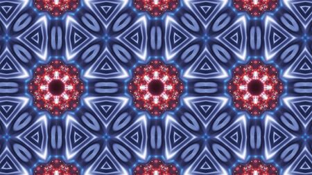 multi color kaleidoscope pattern. abstract mandala with blue red and glowing Stock Photo