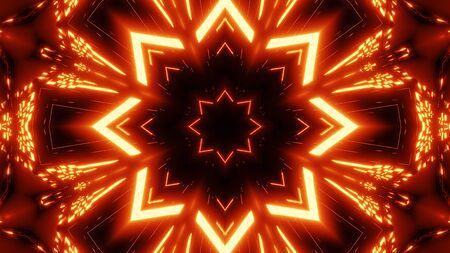 red orange star kalaidoscope with glowing pattern background wallpaper