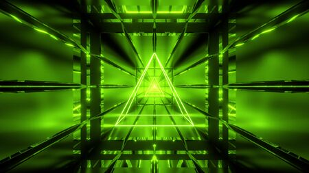 green wireframe with tunnel background wallpaper 3d render Stock Photo