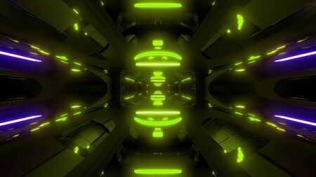 futuristic scifi background wallpaper background with green glow 3d render