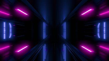 high reflective scifi tunnel wallpaper 3d rendering Фото со стока