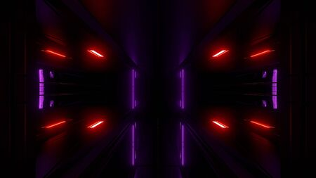 high reflective scifi tunnel wallpaper 3d rendering Stock Photo