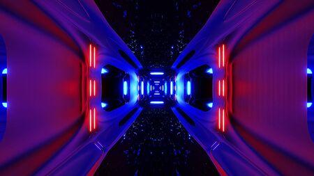 futuristice scifi alien tunnel wallpaper 3d rendering