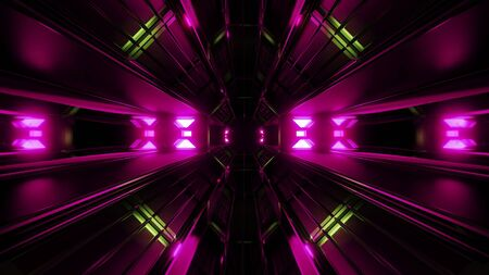 dark black space tunnel with pink glowing artefact 3d rendering