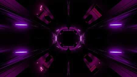 alient style dark space tunnel with glow 3d rendering background