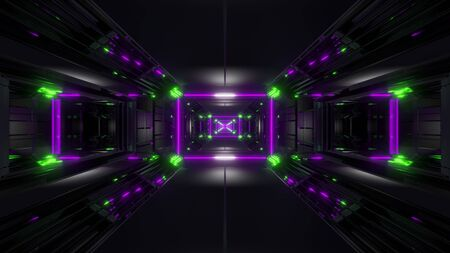 dark black space tunnel with glowing lights 3d rendering background