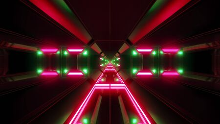futuristic scifi airhangar tunnel corridor with nice glow and reflections 3d rendering background