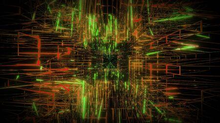 green orange wireframe visual design background 3d rendering