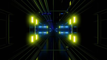 futuritstic science fiction space hangar tunnel background Standard-Bild