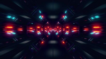 black scifi space tunnel background wallpaper with nice glow 3d rendering