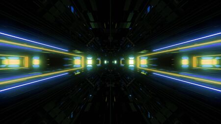 futuristic science-fiction lights glowing tunnel corridor 3d illustration background, modern movement fast speed tunnel 3d render wallpaper