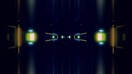 futuristic science-fiction lights glowing tunnel corridor 3d illustration background, modern movement fast speed tunnel 3d render wallpaper Imagens - 127588347