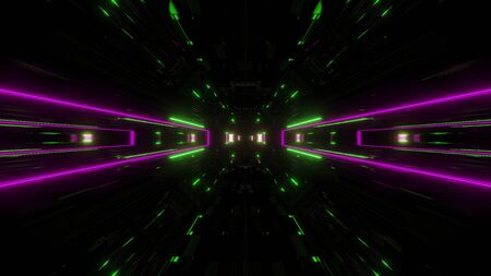futuristic science-fiction lights glowing tunnel corridor 3d illustration background, modern movement fast speed tunnel 3d render wallpaper Imagens - 127588354