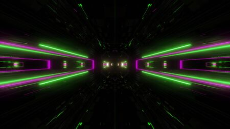futuristic science-fiction lights glowing tunnel corridor 3d illustration background, modern movement fast speed tunnel 3d render wallpaper Imagens - 127588356