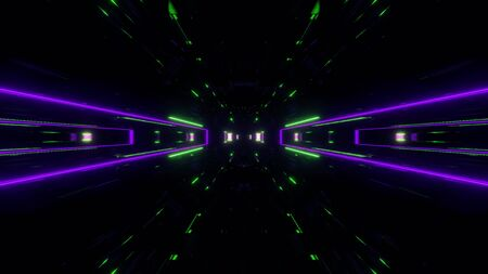 futuristic science-fiction lights glowing tunnel corridor 3d illustration background, modern movement fast speed tunnel 3d render wallpaper Imagens - 127588362